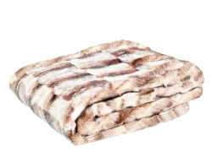 Pled maro/crem din fibre acrilice si poliester 140x180 cm Bear Fur LifeStyle Home Collection