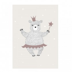 Poster crem din hartie 50x70 cm Lady Bear Bloomingville Mini