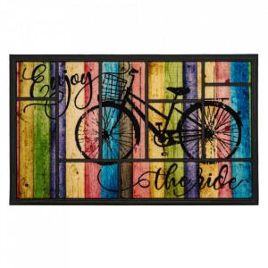 Pres dreptunghiular multicolor din poliamida si cauciuc pentru intrare 45x75 cm Bike Lako