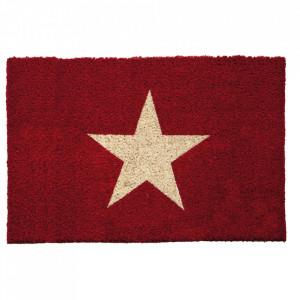 Pres dreptunghiular rosu din fibre de cocos pentru intrare 40x60 cm Star Lako