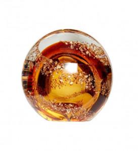 Prespapier maro chihlimbar din sticla Victor Round Hubsch