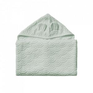 Prosop cu gluga verde din bumbac organic 70x130 cm Junior Dusty Green Cam Cam