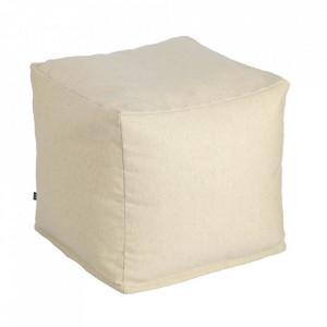 Puf patrat bej din fibre acrilice si in 50x50 cm Nedra Kave Home