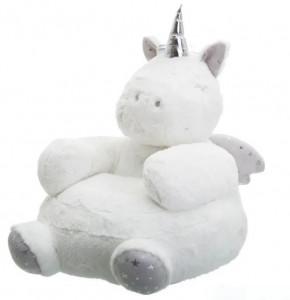 Puf rotund alb pentru copii din poliester Unicorn Unimasa