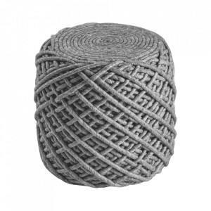 Puf rotund argintiu din lana si viscoza 40 cm Royal Obsession
