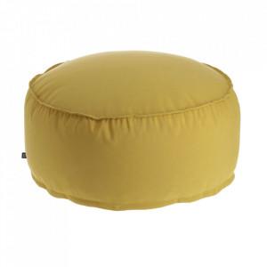 Puf rotund galben din fibre acrilice si in pentru exterior 70 cm Nedra La Forma
