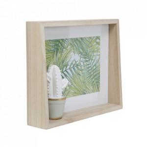 Rama foto alba/maro din sticla si MDF 21x26 cm Cactus Mauro Ferretti