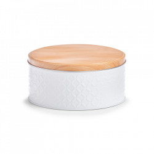 Recipient cu capac alb/maro din metal si lemn 9,3x20 cm Scandi Zeller