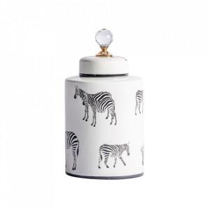 Recipient cu capac negru/alb din ceramica 17x38 cm Cebra Vical Home
