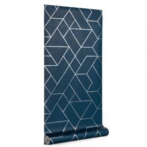 Rola tapet albastra din hartie 53x1000 cm Gea La Forma