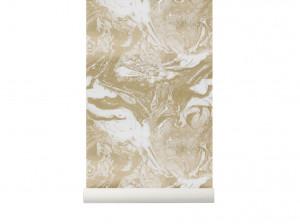 Rola tapet auriu 53x1000 cm Marbling Gold Ferm Living