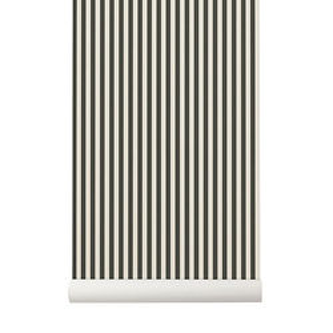 Rola tapet verde/alb 53x1000 cm Thin Lines Ferm Living