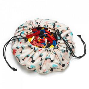 Sac pentru jucarii multicolor din bumbac si poliester Supergirl Mini Play&Go