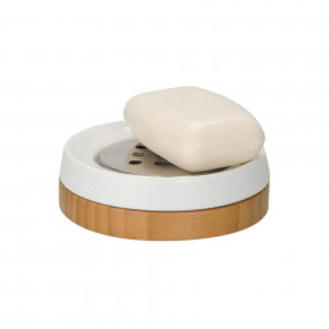 Savoniera alba/maro din ceramica si lemn 3,8x11,5 cm Sepp Wenko