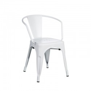 Scaun alb din metal cu spatar rotunjit Dallas Industrial Ixia