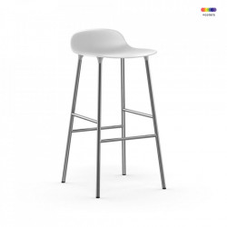 Scaun bar alb din polipropilena si otel Forms Chrome Normann Copenhagen