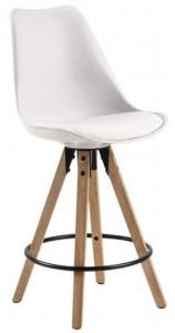 Scaun bar alb/maro din poliuretan si lemn Dima Actona Company