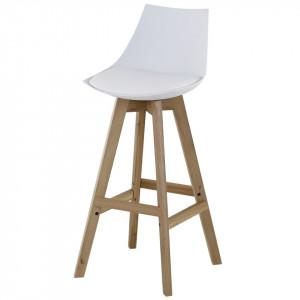 Scaun bar din lemn si plastic alb 98 cm Kim Zago