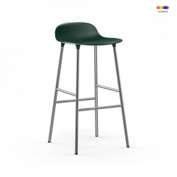 Scaun bar verde din polipropilena si otel Forms Chrome Normann Copenhagen