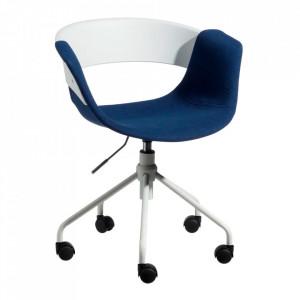 Scaun birou ajustabil alb/albastru din fier si polipropilena Olak Ixia