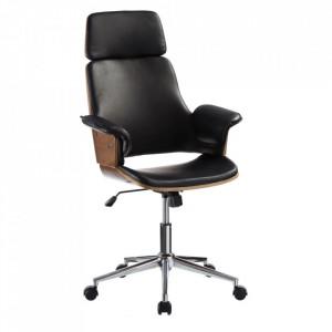 Scaun birou ajustabil negru/maro din inox si poliuretan Osaka Ixia