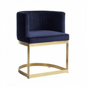 Scaun catifea albastra si alama Lounge Dinner Nordal