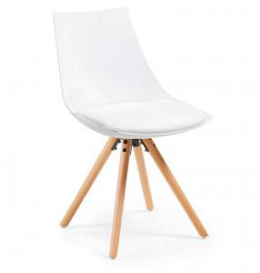 Scaun dining alb din lemn de fag si polipropilena Armony White La Forma