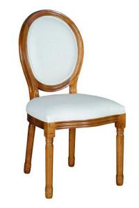 Scaun dining alb/maro din lemn de ulm si textil Milo Giner y Colomer