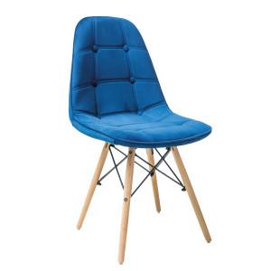 Scaun dining albastru din catifea si lemn Axel Avi Signal Meble