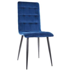 Scaun dining albastru din catifea si metal Otto Velvet Signal Meble