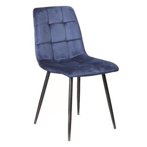 Scaun dining albastru din textil si metal Mila Signal Meble