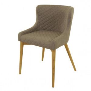 Scaun dining gri deschis din lemn si textil Paris Zago