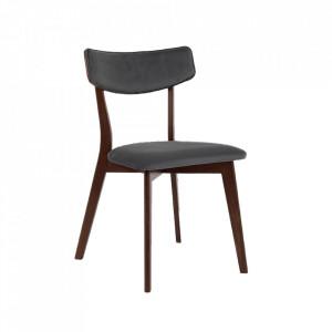 Scaun dining gri/maro din poliester si lemn Tone Custom Form