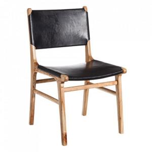 Scaun dining maro/negru din piele si lemn de tec Durama Denzzo