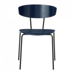 Scaun dining negru/albastru inchis din lemn si metal Herman Dark Blue Black Ferm Living