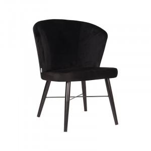 Scaun dining negru din catifea si metal Wave LABEL51