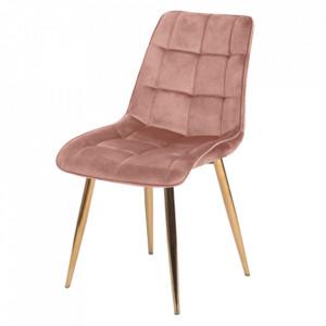 Scaun dining roz/auriu din catifea si metal Chic Signal Meble
