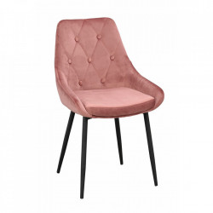 Scaun dining roz/negru din metal si catifea Alberton Rowico Home
