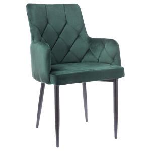 Scaun dining verde din textil si metal Ricardo Green Signal Meble