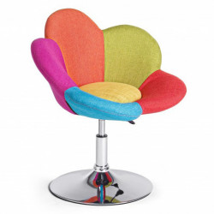 Scaun lounge ajustabil multicolor din poliester si otel Fleur Bizzotto