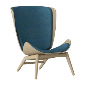 Scaun lounge albastru petrol/maro stejar din poliester si lemn The Reader Umage