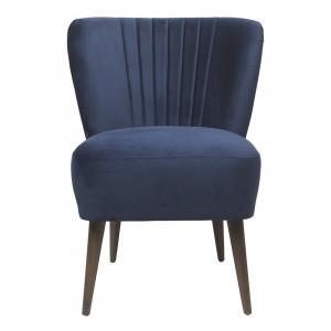 Scaun lounge albastru royal/maro din lemn si catifea Clara Cozy Living Copenhagen
