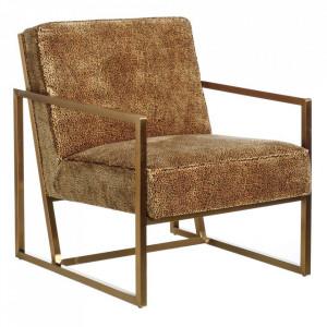 Scaun lounge auriu din textil si inox Leopardo Denzzo