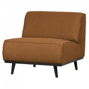 Scaun lounge bej unt/negru din poliester si lemn Statement Boucle Be Pure Home