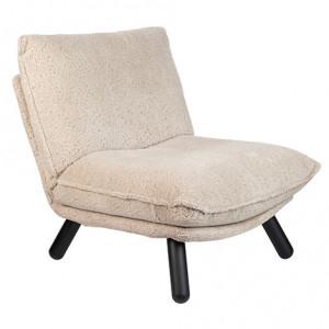 Scaun lounge crem din textil si lemn de fag Teddy Zuiver