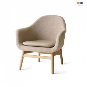 Scaun lounge crem din textil si lemn Harbour Savanna Menu
