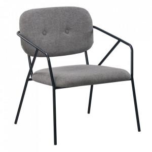 Scaun lounge gri inchis din poliester si metal Egina Ixia