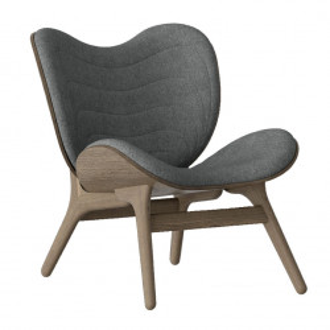 Scaun lounge gri/maro inchis din poliester si lemn A Conversation Piece Umage