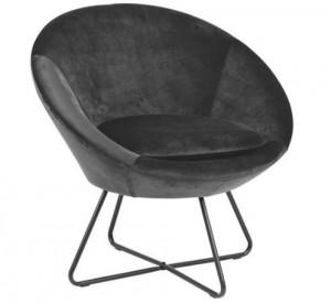 Scaun lounge gri/negru din textil si metal Center Dark Grey Actona Company