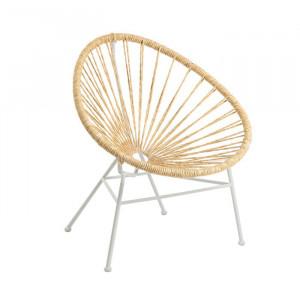 Scaun lounge maro/alb din sfoara si metal pentru exterior Samantha La Forma